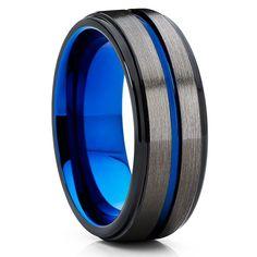 Blue Tungsten Wedding Band - Gunmetal - Black Tungsten Ring - 8mm