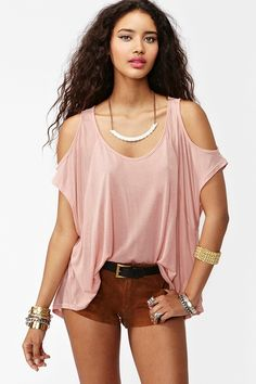Cold Shoulder Top in Dusty Rose