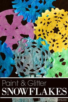 Painted Coffee Filter Snowflakes - A beautiful winter craft for kids of all ages. Paint them, glitter them and hang them in a window at home or in your classroom - Happy Hooligans Winter Activities For Kids, Winter Crafts For Kids, Crafts For Kids To Make, Craft Activities, Preschool Crafts, Art For Kids, Preschool Winter, Daycare Crafts, Preschool Science