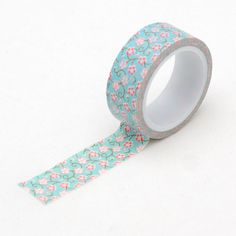 pink floral with blue washi tape - japanese masking tape - craft supplies - decor tape - wedding - Love My Tapes - LMT961 #Pink #Wedding #PinkWedding #Paper
