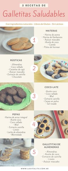 5 recetas de Galletitas Saludables – Sin azúcar ni gluten 5 Healthy Cookie recipes – Without sugar or gluten Healthy Cookie Recipes, Healthy Cookies, Healthy Desserts, Vegan Recipes, Dessert Recipes, Snacks Saludables, Good Food, Yummy Food, Food Platters