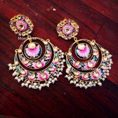 Jewelry OFF! Latest Meenakari earrings - Latest Jewellery Design for Women Indian Jewelry Earrings, Jewelry Design Earrings, Indian Wedding Jewelry, India Jewelry, Jewelery, Jewelry Accessories, Bridal Jewellery, Silver Jewelry, Girls Jewelry