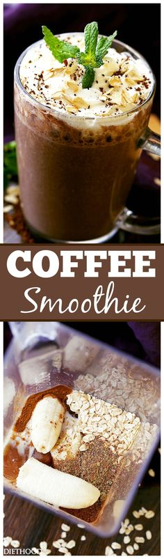 Coffee Smoothie – The perfect way to start your morning with coffee, oats, flaxseeds and bananas, all in one! #healthy #breakfast