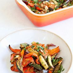 If you're looking for a great side dish these veggies are ideal! The mix of roast aubergines, peppers, courgettes andred onion with garlic, balsamic vinegar and a plum and sun-blushed tomato pesto is a dream, especially topped with the crunchy toasted almonds.