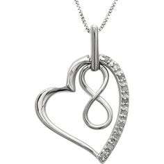 Jewel Exclusive Sterling Silver   Diamond Infinity in Heart Pendant ($30) ❤ liked on Polyvore featuring jewelry, pendants, necklaces, multi, sterling silver pendant, open heart charm, infinity charm, diamond charms and diamond infinity pendant