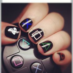 PlayStation manicure - Okay, we couldn't help but pin this. Ha!