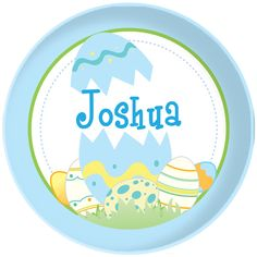 Personalized Easter plate for boys. Exclusive Script and Scribble design.