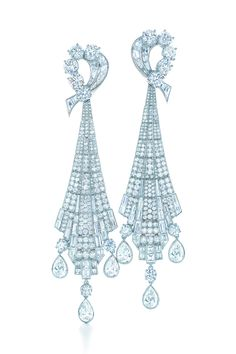 Tiffany & Co. Art Deco drop earrings with round, baguette and pear-shaped diamonds in platinum. From the 2013 Blue Book Collection. #TiffanyPinterest