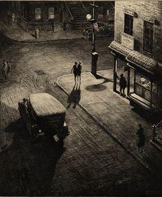 Relics, speakeasy corner, 1928, Martin Lewis. American (1881 - 1962) - Drypoint on Wove Paper