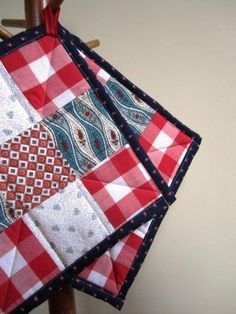 Potholders Hot Pads Nine Patch Patriotic Cooking by stitchingbevy, $12.00
