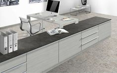 Combine melamines Whitewood with the countertop Terra Tessina Ceramic for your office. Material Library, Office Desk, Corner Desk, Countertops, Kitchen, Projects, Room, Furniture, Design