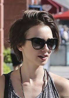 lily collins short hair pixie