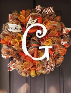 Monogram Wreath Fall Deco Mesh Wreath Autumn by WreathsandBowsOhMy