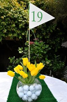 Fun centerpiece idea for the golf outing.