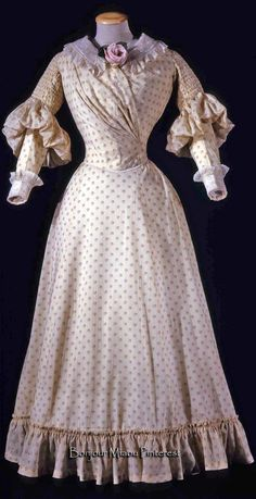 Day dress ca. 1893. Pink floral on ivory wool ground with muslin collar and embroidered lace. Two pieces. Costume Gallery of the Pitti Palace via Europeana Fashion
