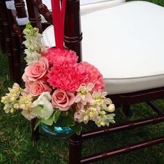 Chair marker...lots of pinks and blushes. #orlandoweddingflowers -Garden Gate Florals-Central Florida.  @Casafelize