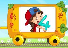 Animated Numbers, Arabic Alphabet For Kids, Numbers For Kids, School Signs, Clipart, Pikachu, Animation, Train, Teaching
