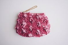 Vintage Pink Rose Petals Satin Clutch.  This clutch is perfect for a dinner date or a night out. Sophisticated and romantic.    - Satin laser