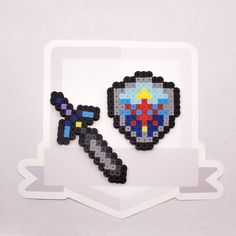 Master Sword and Hylian Shield Perler Bead by TheSpritesmith