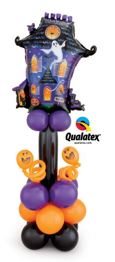 Decorate your Halloween parties with a fun haunted house-themed balloon Column! The bright orange latex balloons contrast with the black and purple ones.
