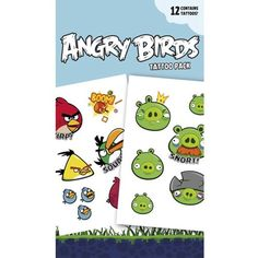 Official Angry Birds Temporary Tattoos - Faces >>> Check this awesome product by going to the link at the image. (This is an affiliate link) #ActionFiguresStatues
