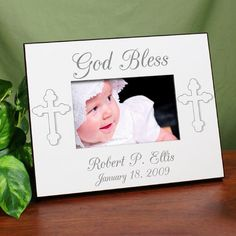 Personalized Christening Printed Photo Frames. God Bless... Personalized Christening Printed Frame - Personalized Baptism Picture Frame. Our Personalized Baby Christening Printed Photo Frames makes a great gift to any new baby making their christening or baptism. Keep your most precious photograph of your baby's Christening inside this unique Personalized Picture Frame so the entire family can enjoy this moment again & again. The Personalized Printed Frame measures