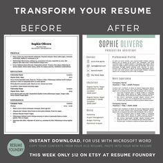 Modern Resume Template For Word, 1 3 Page Resume + Cover Letter + Reference  Page | US Letter | INSTANT DOWNLOAD | Sophie