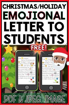 "Students will LOVE decoding this Christmas/Holiday ""emojional"" letter from their teacher that appears on a cell phone. Using context clues and their knowledge of emojis, students will work to reveal a special message. Print and cut or keep it paperless by projecting the including jpeg image or posting in Google Classroom, Seesaw, your LMS, Nearpod, Classkick, etc. FREE PDF & JPEG Images!"