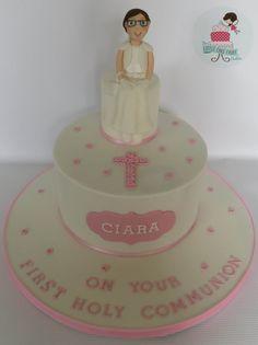 Pretty in Pink Communion Cake   www.littlecakefairydublin.com www.facebook.com/littlecakefairydublin Holy Communion Cakes, Little Cakes, Confirmation, Pretty In Pink, Holi, Facebook, Desserts, Tailgate Desserts, Deserts