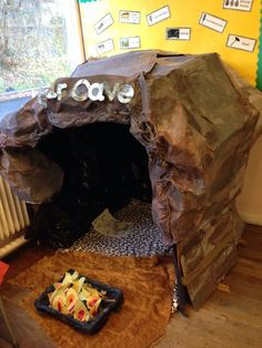 Early man role play area work in progress School Displays, Classroom Displays, Role Play Areas, Dramatic Play Area, Book Corners, Reading Corners, Ice Age, Stone Age, Eyfs