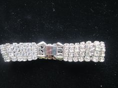GORGEOUS 1950's Art Deco Rhinestone Bracelet 7 Inches Long 1/2 Inch Wide Wt. 17.2 by TamisVintageShop on Etsy