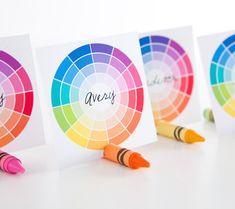 rainbow and crayon nametag holder