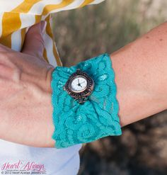 NEW Teal Stretch Lace Watch. $32.99, via Etsy.