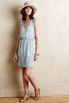 Embroidered Chambray Dress #anthropologie