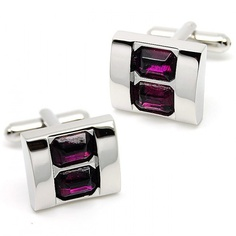 charming wine red crystal and sliver cufflinks