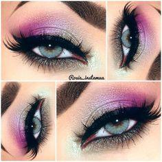 #Purple Eye shadow, transitioning with #Grey Eye shadow.