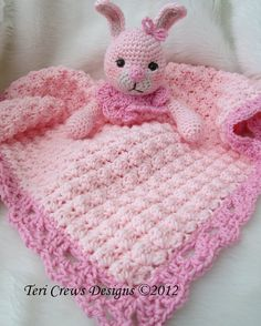 Crochet Pattern Bunny Huggy Blanket by Teri Crews by WoolandWhims