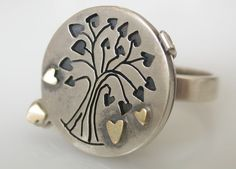 Locket Ring Handmade Tree Of Life Sterling Silver by CitrineSunset, $450.00 African Jewelry, Personalized Jewelry, Cufflinks, Jewellery, Sterling Silver, Trending Outfits, Unique Jewelry, Handmade Gifts, Rings