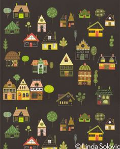 Little Houses Pattern Collection by Linda Solovic, via Behance