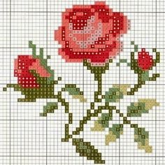 free cross stitch chart by Cross Stitch Cards, Cross Stitch Rose, Cross Stitch Flowers, Cross Stitching, Cross Stitch Embroidery, Embroidery Patterns Free, Cross Stitch Patterns, Tapestry Crochet, Loom Beading
