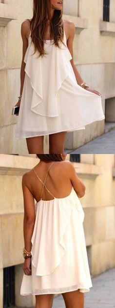 White Chain Spaghetti Strap Back Cross Asymmetric Hem Dress-CHOIES