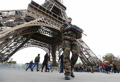 French military patrol near the Eiffel Tower
