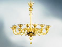 Nella Vetrina Cadona 8007-12 Venetian Chandelier in Amber Murano Glass