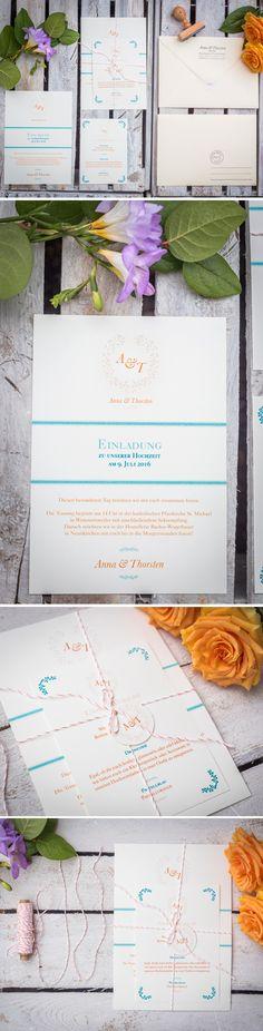 Hochzeitseinladung Klassisch-edel in creme Apricot pastell und blau