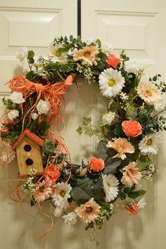 Spring wreath, Summer wreath, rustic wreath, Easter wreath, Mother's Day wreath, Shabby Chic wreath. Peach, cream, white grapevine wreath.