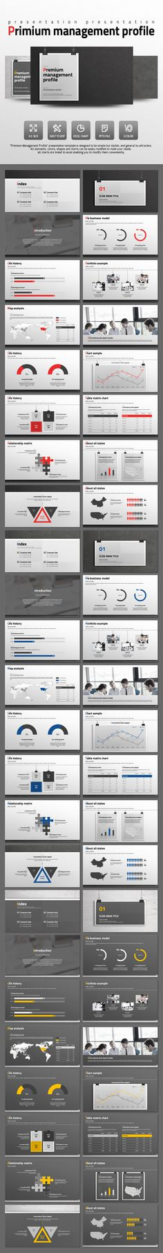 Premium Management Profile PowerPoint Template #design #slides Download: http://graphicriver.net/item/premium-management-profile/14044573?ref=ksioks