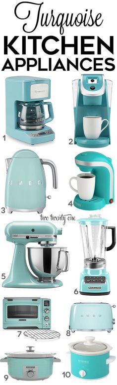 Looking for turquoise kitchen decor, appliances, and gadgets? This is a comprehensive list of the best turquoise kitchen accessories! Turquoise Kitchen Decor, Aqua Kitchen, Kitchen Retro, Tiffany Blue Kitchen, Kitchen Modern, Modern Room, Kitchen Stuff, Country Kitchen, Modern Decor