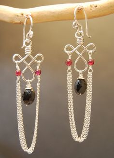 wire earrings; like the idea - maybe wigjig with drooping chain???