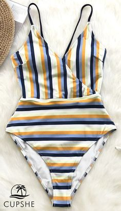 3c00f2fdde1 A sunny striped pattern to brighten your day. This one-piece swimsuit  features lace-up detailing at back and a high leg cut.