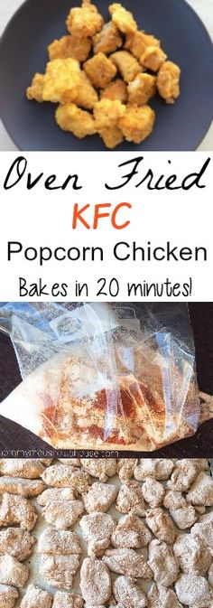 Kid-Friendly, Easy to make, Fast and flavorful Oven Baked KFC Popcorn Chicken. Healthy, crispy on the outside, tender on the inside, oven fried homemade chicken nuggets